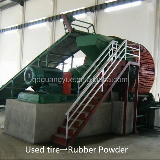 Full automatic used tire recycling line