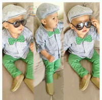 Wholesale European and American boys cotton stripe bowtie hot handsome green copy bull-puncher 2pcs/set