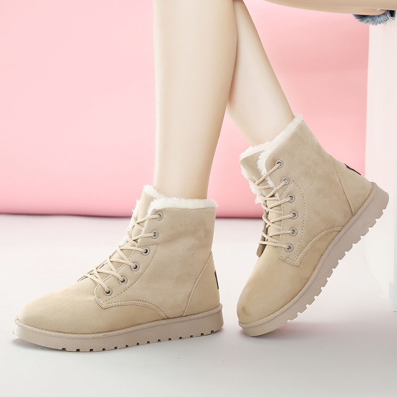 wholesale winter non-slip lady snow boots flat casual shoes