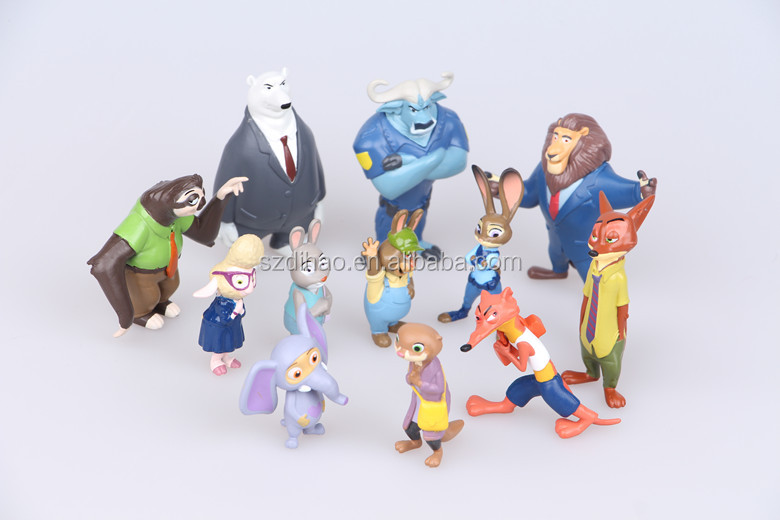 DIHAO Hot selling dolls Zootopia action figure set of 12pcs Plastic Movie Cartoon Figure with high quality