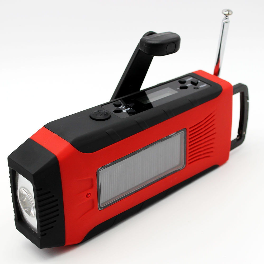 Solar hand crank dab digital radio receiver