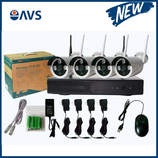 Manufacturer Cheap 720P 4CH Wireless Network IP Security CCTV Camera DVR kit