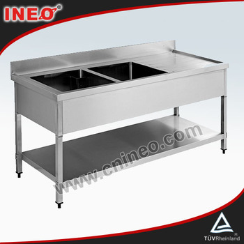 Restaurant Or Hotel Free Standing Double Bowl Kitchen Stainless steel Sink(INEO are professional on commercial kitchen project)