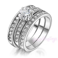 wedding jewelry bezel setting crystal gold plated fashion three tone set ring