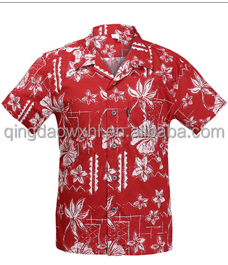 newest arrived red color short sleeve hawaiian style flowers printed custom men <strong>shirt</strong>