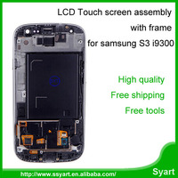 Blue Color LCD Display Screen + Touch Screen Digitizer Assembly with Frame replacement lcd complete For Samsung Galaxy S3 i9300