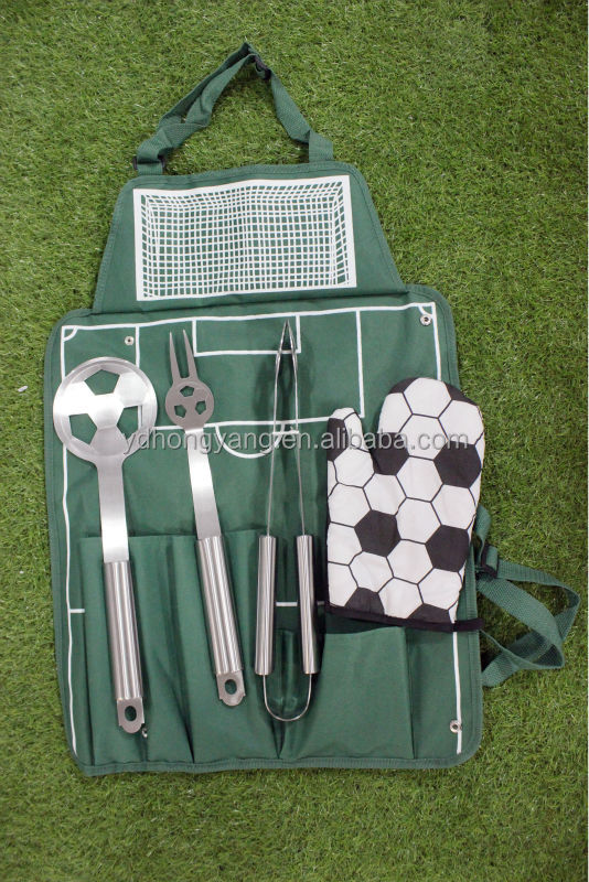 2014 new design football shaped bbq grill tools set