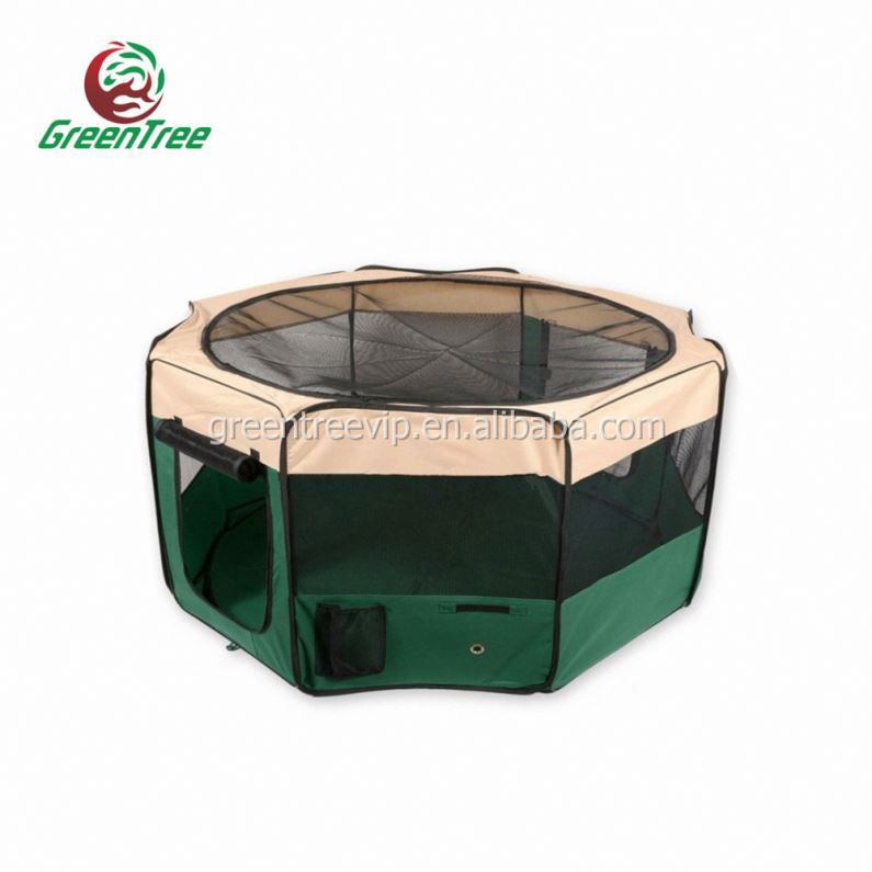 Foldble Pet Playpen Cage With Plastic W/ Tray Pan