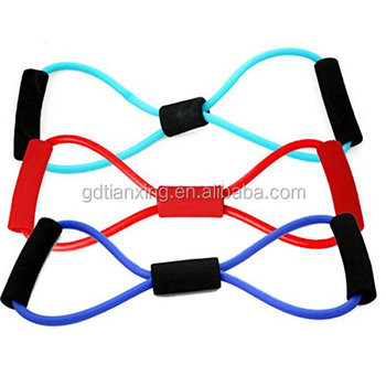 Sport Fitness Yoga 8 Shape Pull Rope Tube Resistance Band Equipment Tool for Pilates Gym Chest Expander