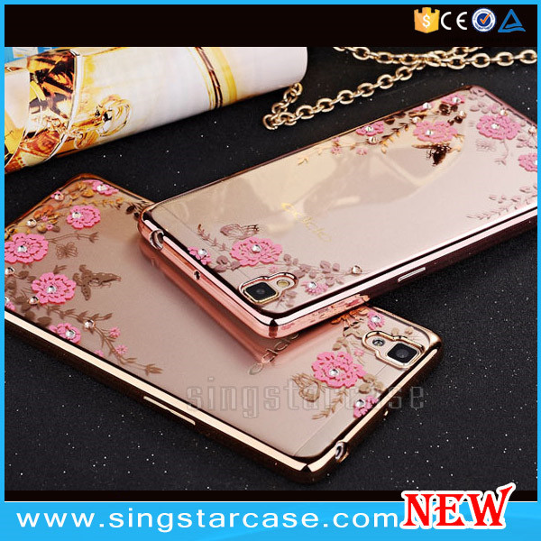 Wholesale Soft Diamond Electroplated TPU Case for OPPO A37,for oppo a37 cover phone case