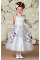 2015 boutique silver royal wholesale children frocks designs baby girls ruffle flower dresses for kids