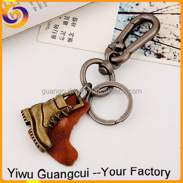 Antique zinc alloy metal leather boot shoe key chain keychain