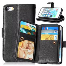 For iPhone 5 5S Case, Case for iPhone 5 5s,9 Credit Cards Slot Premium Leather Flip Wallet Cover for Apple iPhone 5S 5 Case