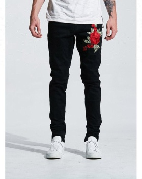 Royal wolf denim vêtement usine jet noir patch brodé floral jean slim hommes pantalon brodé