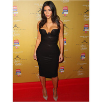 Free Shipping 2015 Womens New Black Leatherette Bandage Dress Kim Kardashian Celebrity Dresses