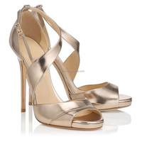 Wholesale gold leather high heel peep toe sandals cross strap party wear high heels latest brand sandals