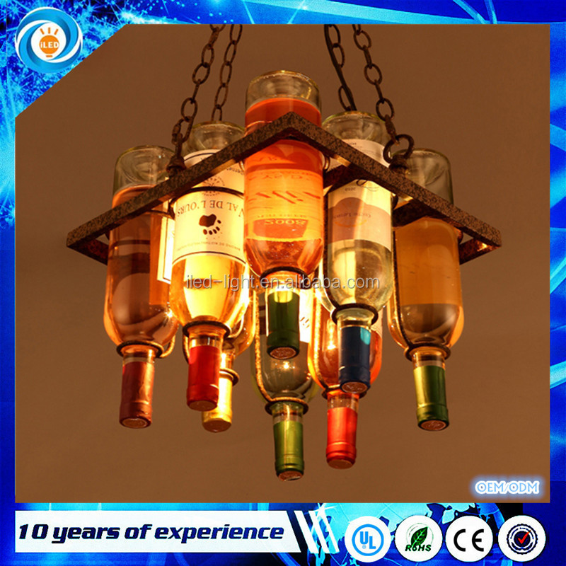 Loft wine bottle pendant light wine bottlle light for bar restaurant cafe decoration Modern Glass pendant lamp lights 2016