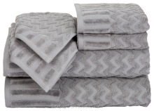 Egyptian Cotton 6 Piece Chevron SPA Hotel Bath Towel Set, Silver HTS-048 wholesale China Factory