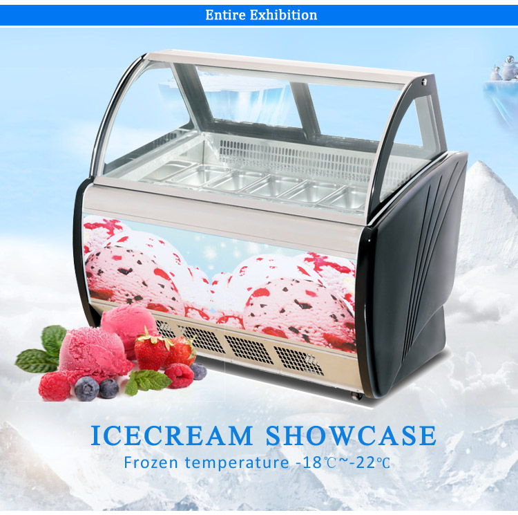 LVNI commercial 16 bowls glass door display dynamic cooling ice cream machine freezer refrigerator cabinet