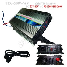500W Micro Solar Power Grid Tie Inverter DC 24V 48V to AC 220V, MPPT Charge Controller Inverters