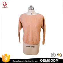 Custom logo lady fit loose knitted wool and mohair knitwear sweater for women