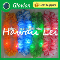 LED flashing party flower garland Hawaiian leis hawaiian silk flower leis LED party fabric artificial lei necklaces