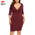 Womens Plus Size V Neck 3/4 Sleeve Bodycon Sexy Party Midi Wrap Dress