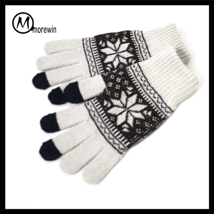 Morewin brand custom snowflake 3 fingers touch screen texting gloves