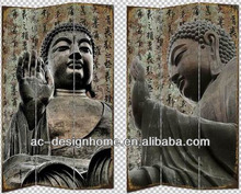 BUDDHA 3 PANEL CANVAS/WOODEN FOLDING SCREEN