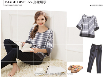 SIMPLE STRIPE SOFT THICK LONG SLEEVE PAJAMAS FOR LADY