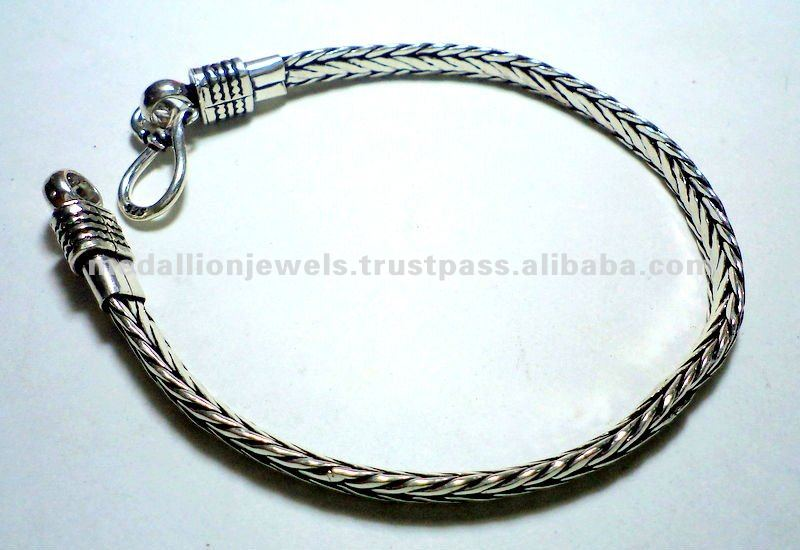 925 Sterling Silver Chain Pure Oxidized BOHO Snake Chain Bracelet