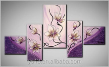 Home decor hotel wall art handmade five panel flower oil painting on canvas