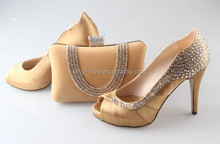 BAS030 Custom Made gold Rhinestones Matching Shoes And Bag Set Women High Heels Wedding Shoes Evening Clutch Bags Bags