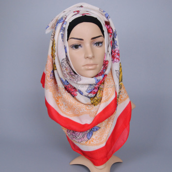 Autumn new design fashion big floral scarf women viscose shawls muslim hijab headband scarves GBS350