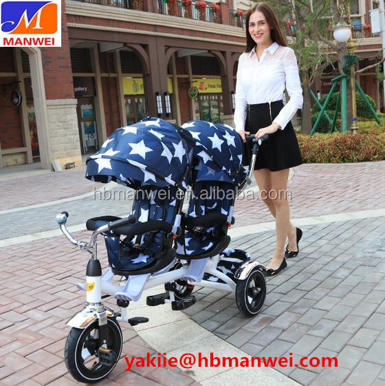 China wholesale new model baby twin stroller tricycle / baby twins tricycle