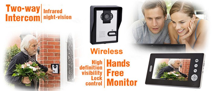 2.4GHZ 7 inch Wireless Color Video Door Phone intercom system