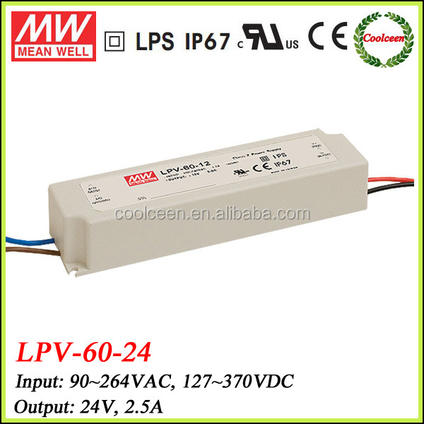 Meanwell LPV-60-24 ip67 waterpoof led lighting driver