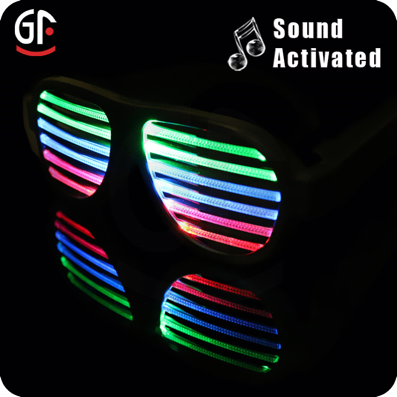 2016 New Product Funny Sunglasses Party Favor 3 Colors Sound Activated LED Sunglasses/LED Glasses