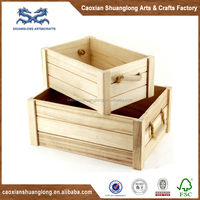 Unfinished Cheap Wholesale Wooden Apple Storage Box Crates
