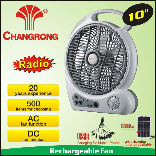 AC/DC 10'' rechargeable led fan radio function and solar charge