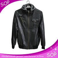 2015 bulk new fashion cheap men pu leather jacket with hood china supplier