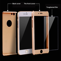 360 degree Full cover protective slim hard PC cell phone case with tempered glass shockproof combo for iphone 6 6s plus