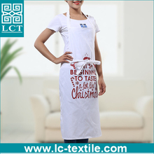 wholesale cotton white christmas cute design print cheap bulk aprons for kitchen