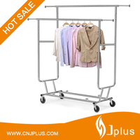 JP-CR406 Double collapsible rolling garment rack with strong hanging power