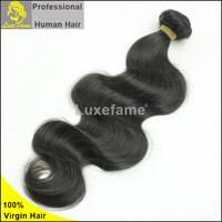 Luxefame silky black natural color body wave 100% can be dryed and perm any human hair
