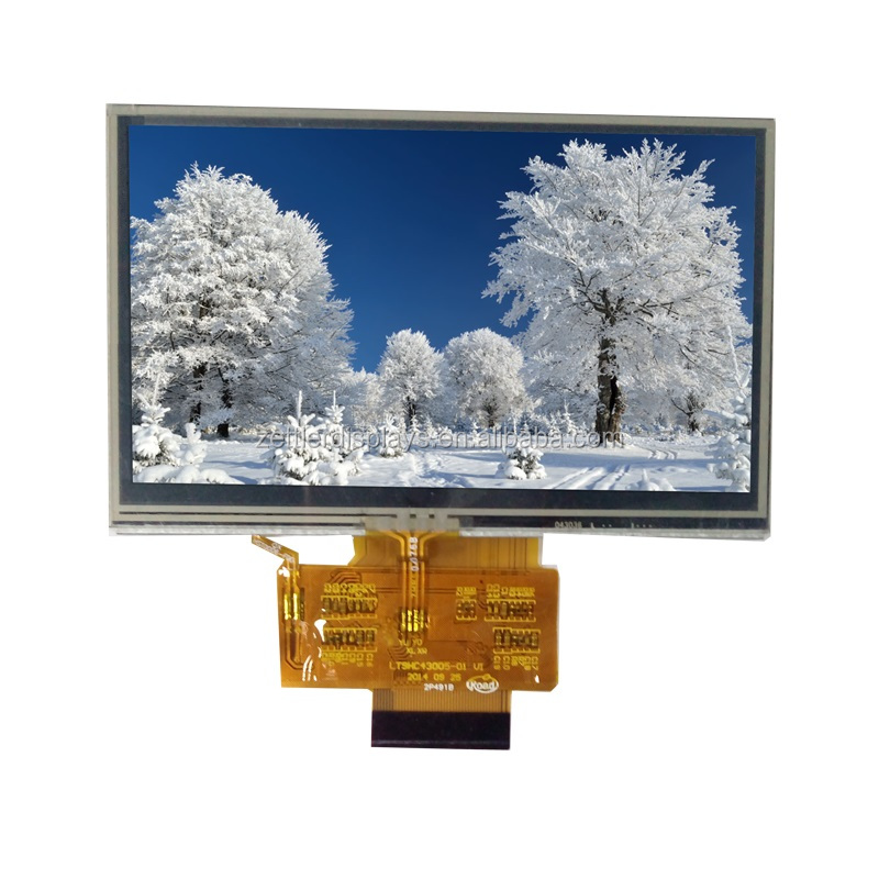 4.3'' tft lcd screen with resistive touch panel, 480 x 272 dots, outline dimension 105.5x67.2x4.3 mm