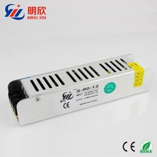 slim case dc 12v 7a 80w switch mode power supply , strip shape constant current led driver