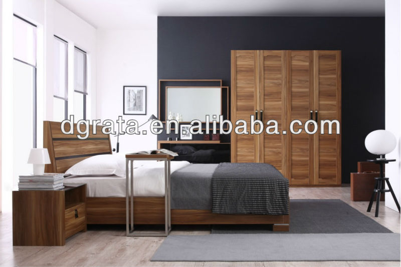 2016 hot sale wooden bedroom sets in E1 MDF board to be finished for the house furniture sets
