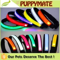 Logo Print Eco-Friendly Waterproof LED Dog Collar Light Up Dog Collar/ Reflective Dog Collar