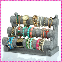 Gray linen 3-tier decorative jewelry holder for bracelets
